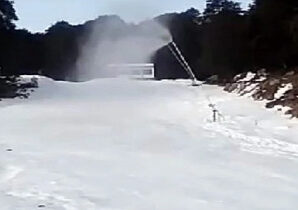 Auli: Artificial snow making started with snow making machine.