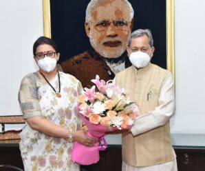 Cm TSR met Union Minister Smt. Smriti Zubin Irani at Udyog Bhawan, New Delhi on Monday.