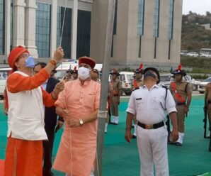 Chief Minister Pushkar Singh Dhami hoisted the flag on Independence Day in the state's summer capital Gairsain (Bharadisain) assembly complex.